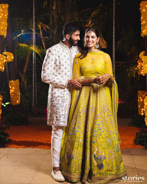 Jasprit Bumrah and Sanjana Ganesan keep it vibrant and regal in Anita Dongre and Antar Agni for mehendi and haldi ceremonies 3