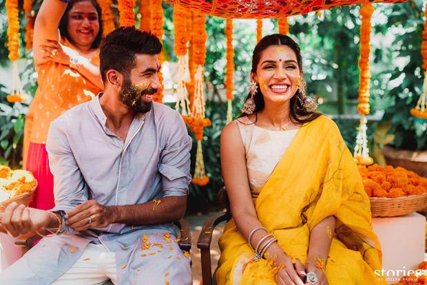 Jasprit Bumrah and Sanjana Ganesan keep it vibrant and regal in Anita Dongre and Antar Agni for mehendi and haldi ceremonies 7