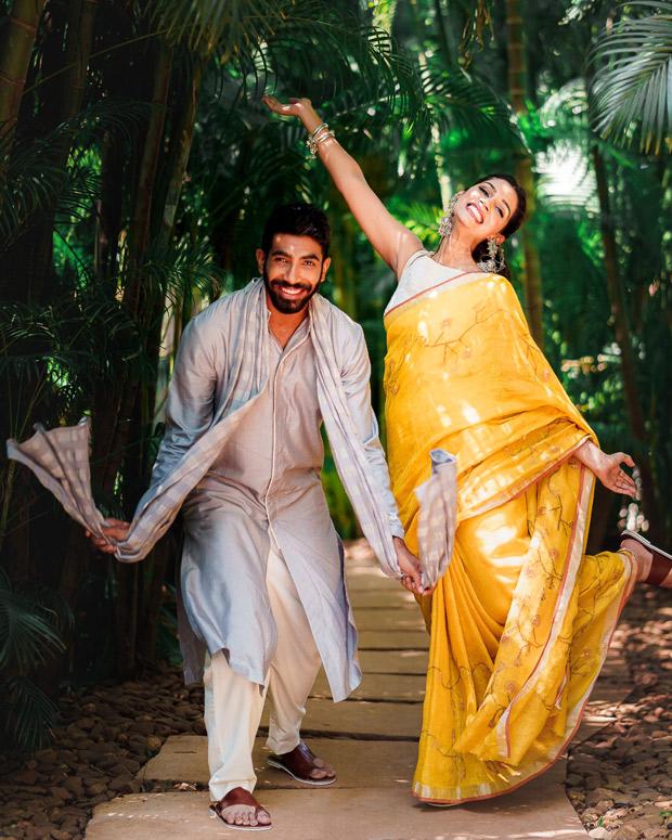 Jasprit Bumrah and Sanjana Ganesan keep it vibrant and regal in Anita Dongre and Antar Agni for mehendi and haldi ceremonies 8
