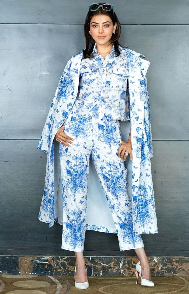 KajaL Aggarwal aces monotone trend with print on print powersuit worth Rs. 24800 for Mosagallu promotions 1
