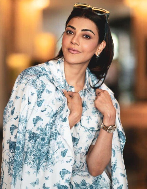 KajaL Aggarwal aces monotone trend with print on print powersuit worth Rs. 24800 for Mosagallu promotions 4