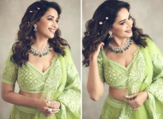 Madhuri Dixit's embellished green lehenga is perfect for mehendi ceremony this wedding season