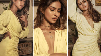 Pranutan Bahl follows dopamine trend with affordable mini yellow dress worth Rs. 3,000