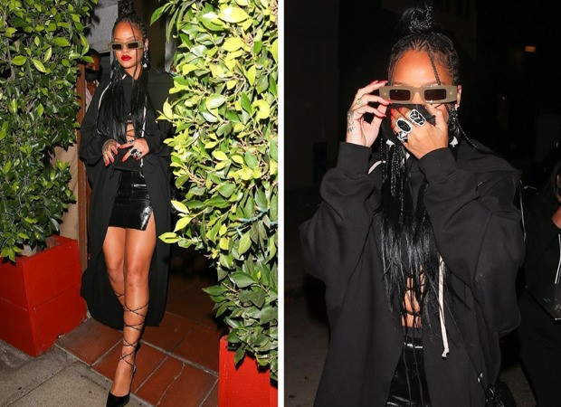 Rihanna steps out in all black look worth over Rs. 1.5 lakhs; dons tiny mini skirt and duster overcoat following midriff flossing trend