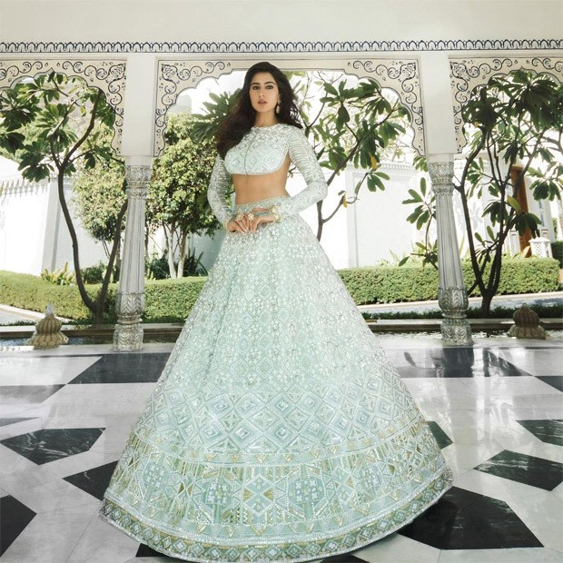 Sara Ali Khan embodies unmatchable elegance in icy mint backless blouse and lehenga from Manish Malhotra's Nooraniyat collection