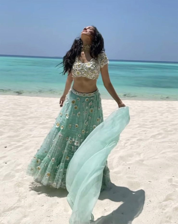 Shraddha Kapoor raises the oomph factor in blue custom-made embroidered lehenga for cousin Priyanka Sharma's haldi festivities