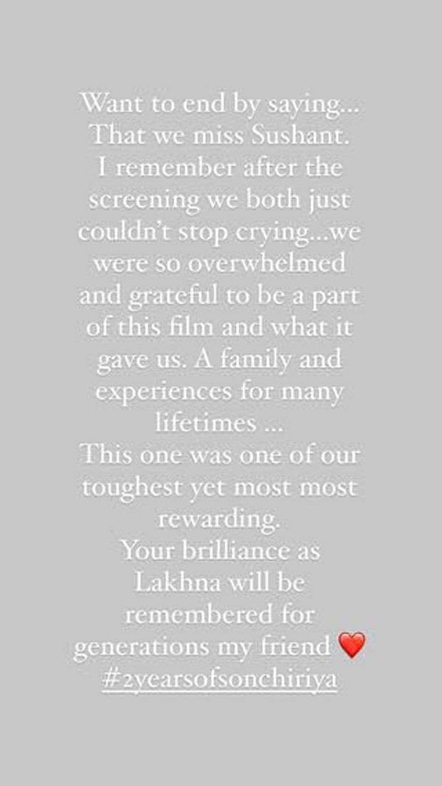 2 Years of Sonchirya Bhumi Pednekar says Sushant Singh Rajput will be remembered for his work as Lakhan for generations