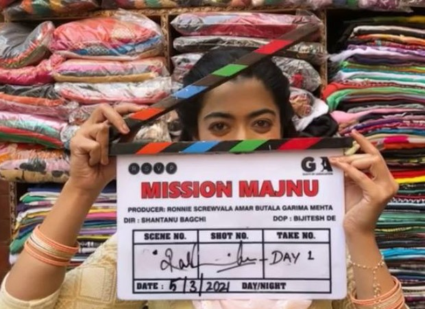 Rashmika Mandanna gives the clap as she begins shooting for her Bollywood debut film, Mission Majnu