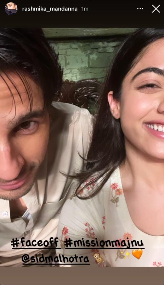 Rashmika Mandanna has a gala time with Sidharth Malhotra on the sets of her debut Bollywood film, Mission Majnu