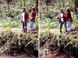Behind The Scenes Kriti Sanon mock-pushes Varun Dhawan during a scene in Bhediya, saves him in time