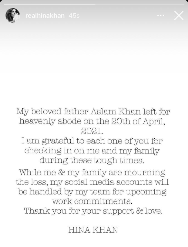 Hina Khan takes a break from social media after her father's demise