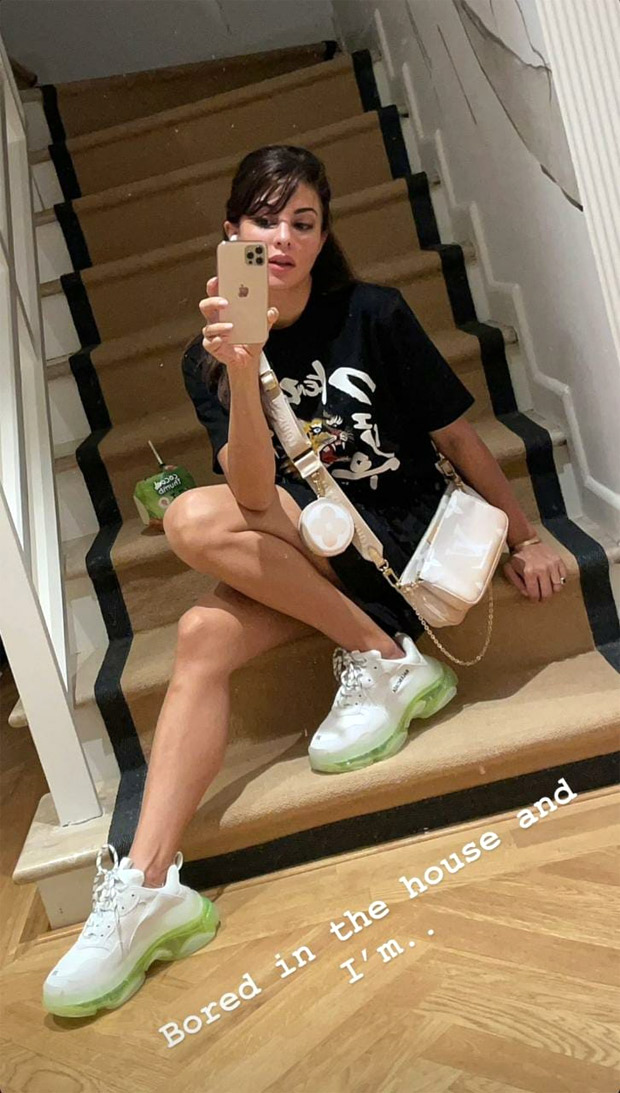 Jacqueline Fernandez pairs her casuals with Balenciaga sneakers worth Rs. 79,000 and Louis Vuitton bag worth Rs. 1.4 lakhs