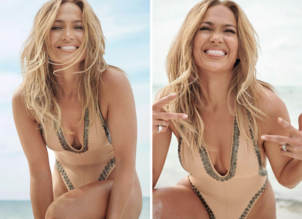 Jennifer Lopez sets the temperature soaring in biege plunging neckline swimsuit on the cover of InStyle magazine