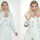 Katy Perry dons ice blue pantsuit with her retro style hairdo for American Idol