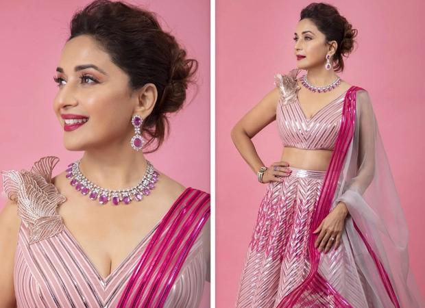 Madhuri Dixit looks pretty in blush pink Amit Aggarwal metallic lehenga worth Rs. 1.65 lakhs