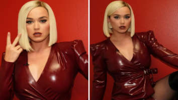 Katy Perry brings red hot drama to American Idol in latex thigh-high slit dress and knee length boots