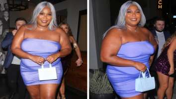 Lizzo pairs her lilac bodycon mini dress with silver wig and 'Protect Black People' mini box bag