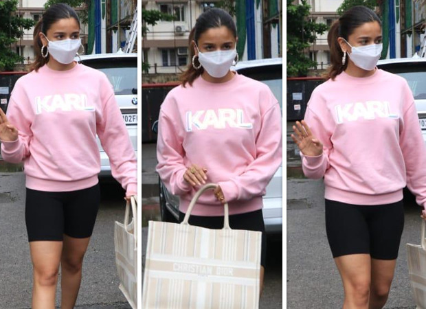 Alia Bhatt steps out for brunch in pink sweatshirt and cycling shorts with luxury Dior bag worth Rs. 2.4 lakh