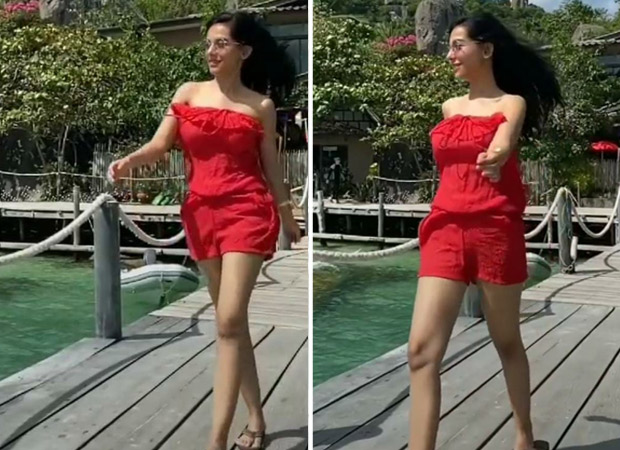 Amrita Rao soaks in the sun in the red romper, plays BTS' 'Dynamite' in her latest Instagram reel