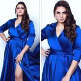 Huma Qureshi steals the limelight in royal blue satin dress with thigh-high slit