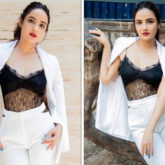 Jasmin Bhasin looks fiery in white pantsuit paired with black lace bralette