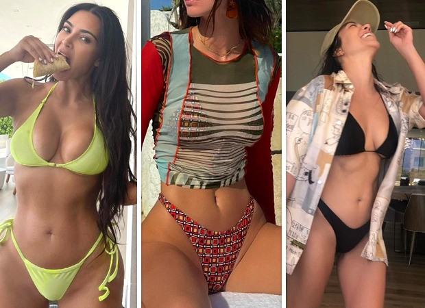 Kim Kardashian, Kendall Jenner and Kourtney Kardashian set the temperature soaring in skimpy bikinis