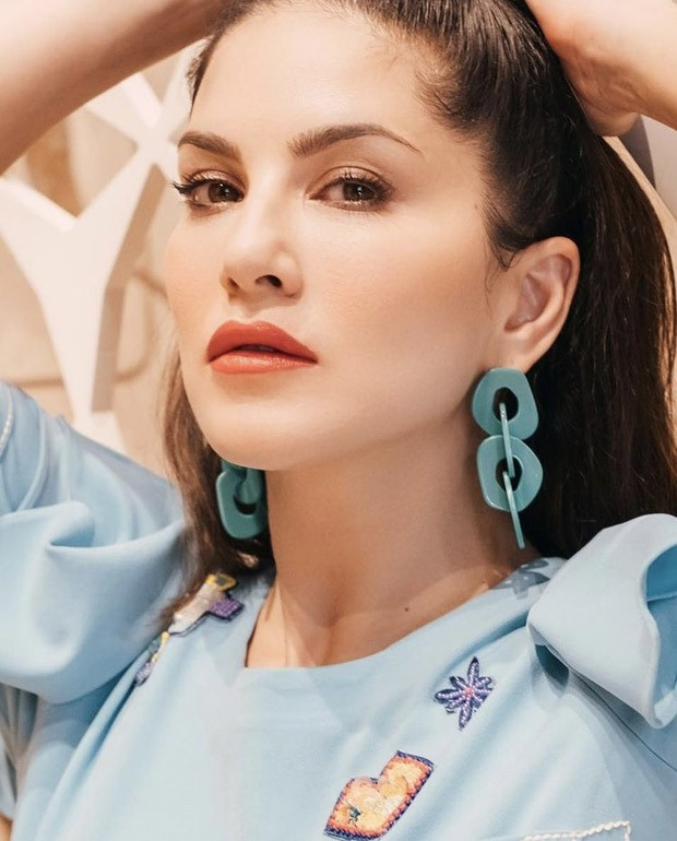 Sunny Leone follows the season or pastels, poses in a trendy blue co-ord set
