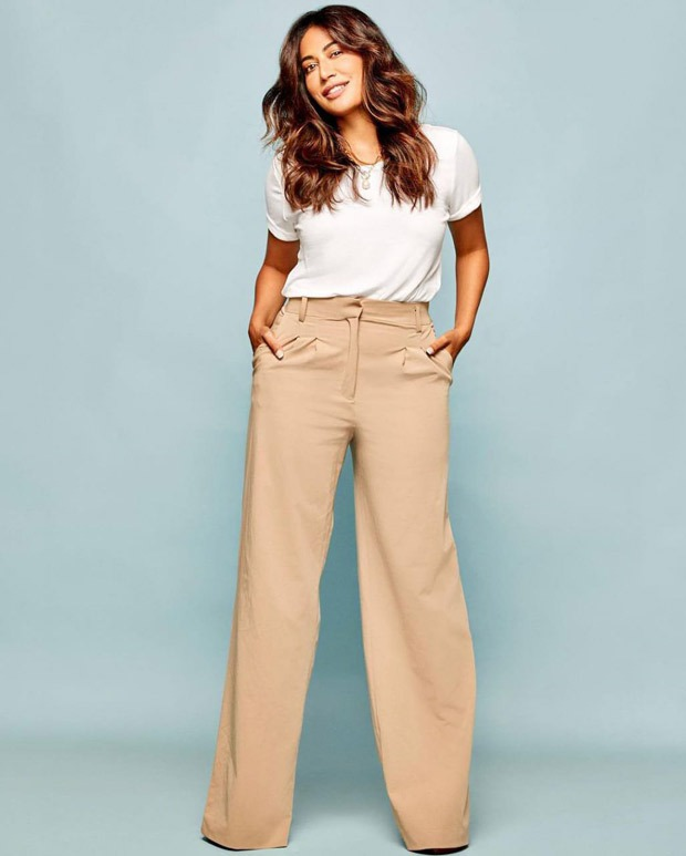 Chitrangada Singh gives cues on how to style a classic white t-shirt and beige colored trousers