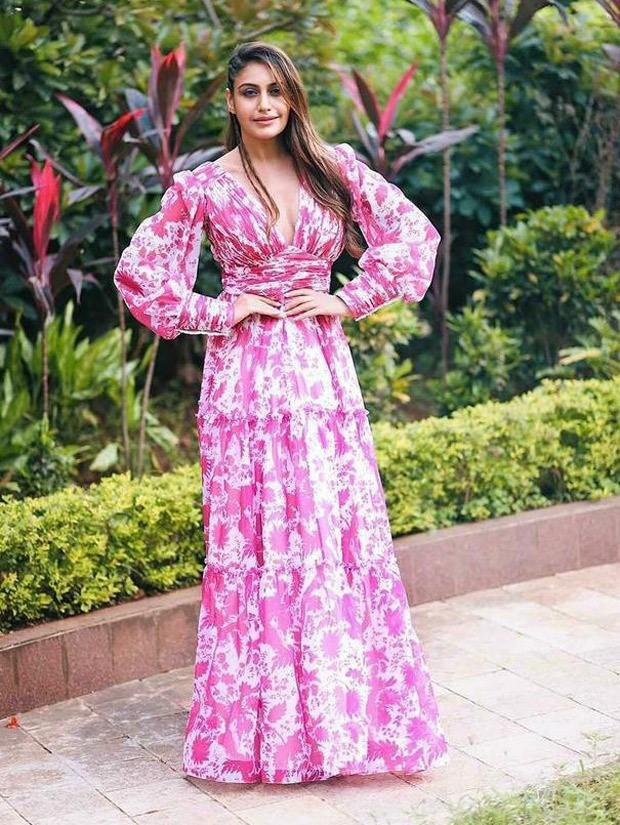 Ishqbaaz actress Surbhi Chandna stuns in plunging neckline pink flowy printed dress