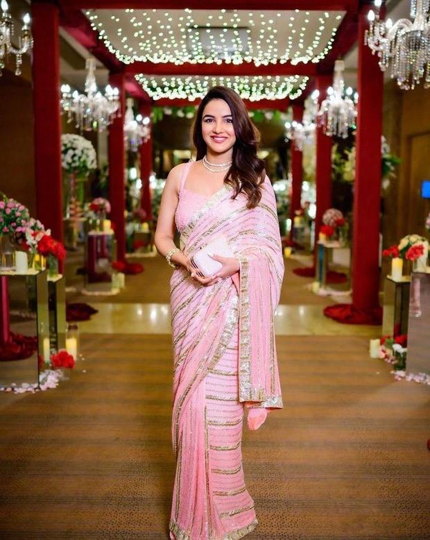 Jasmin Bhasin dons a sparkly blush pink saree worth Rs. 1.45 lakh for Disha Parmar-Rahul Vaidya's wedding after party