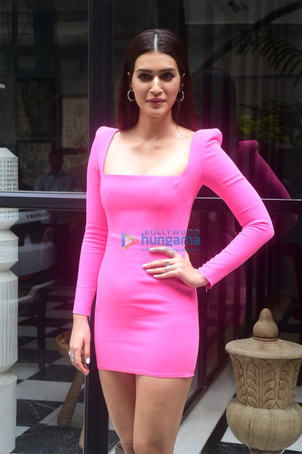 Kriti Sanon dons the style season's dominating colour pink, steps out in figure-hugging mini dress post Mimi trailer launch