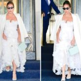 Lady Gaga looks sensational as she steps out in New York in white Giambattista Valli sheer gown