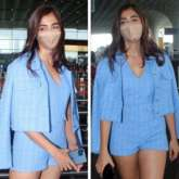 Pooja Hegde channels monotone style in blue romper and blazer as she leaves for Chennai for Vijay's Beast shoot