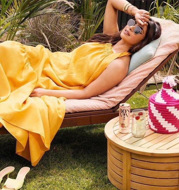Priyanka Chopra Jonas looks summer ready in a mustard yellow halter neck dress