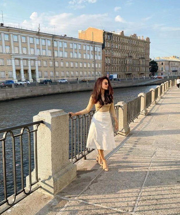 Qubool Hai actress Surbhi Jyoti dons beige top and white skater skirt during her vacation in Russia