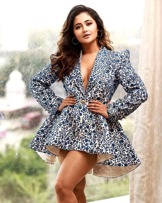 Rashami Desai drop scintillating pictures dressed in blue and white plunging neckline risqué mini dress