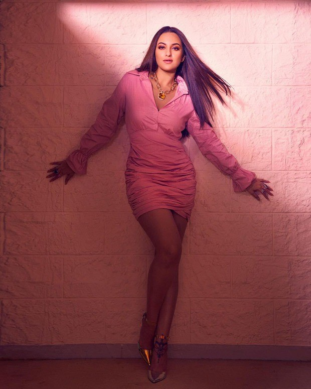 Sonakshi Sinha exudes oomph in pastel pink mini dress for Bhuj: The Pride Of India promotions
