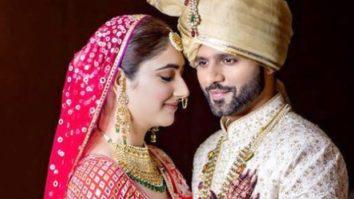 Disha Parmar and Rahul Vaidya make for a stunning bride and groom in Abu Jani Sandeep Khosla's creation