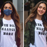 Kiara Advani looks her stylish best in Dil Maange More T-shirt and denim pants as she heads to Kargil with the team of Shershaah