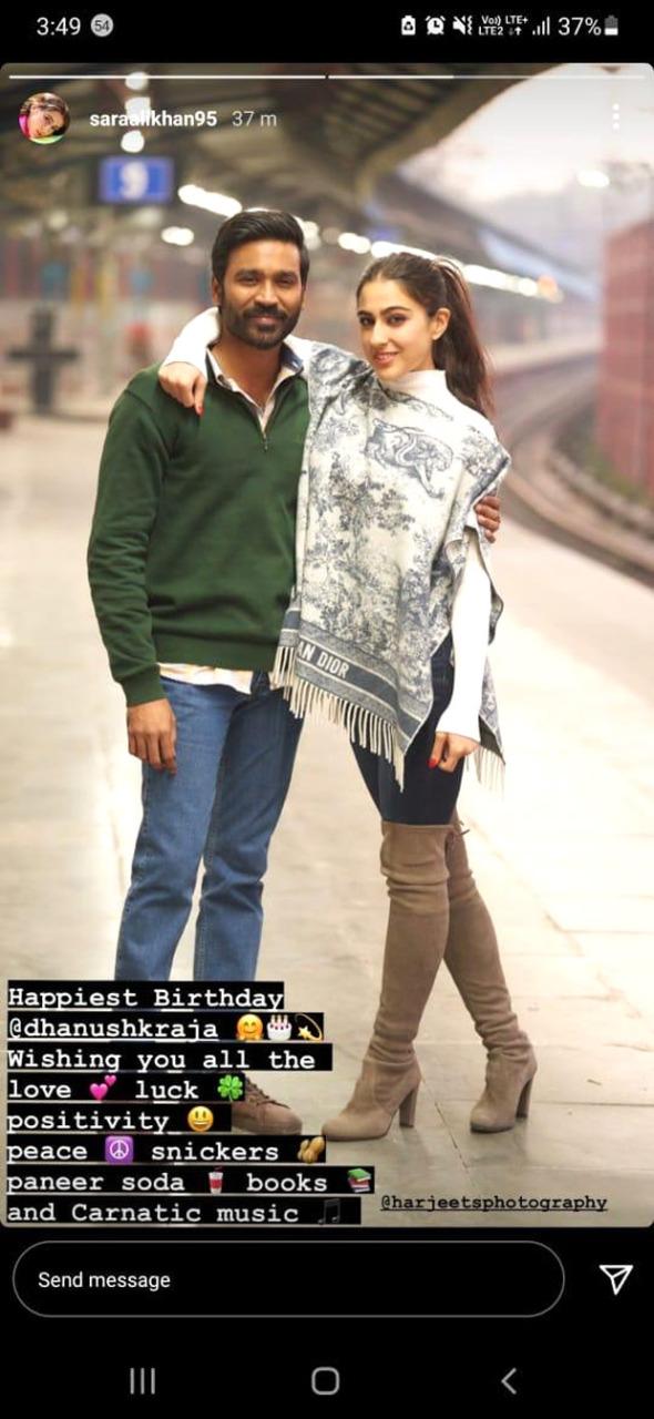 Sara Ali Khan and Akshay Kumar share special birthday wishes for their Atrangi Re co-star Dhanush