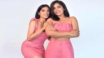 Sisters Bhumi Pednekar and Samiksha Pednekar don identical pastel pink outfits for a photoshoot