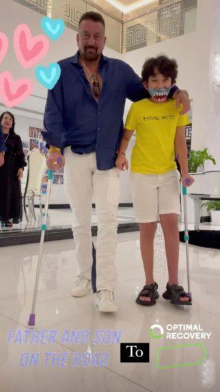 Sanjay Dutt and Shahraan walk arm in arm while Maanayata captures their cute video