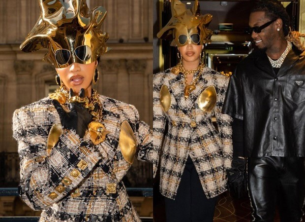 Cardi B makes a press release with Offset in Schiaparelli with liquid gold helmet price nearly Rs. 12 lakh at Paris Vogue Week : Bollywood Information - The Times Of Truth