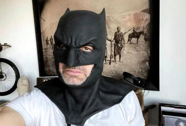 Justice League director Zack Snyder celebrates Batman Day in Ben Affleck's Batman Cowl