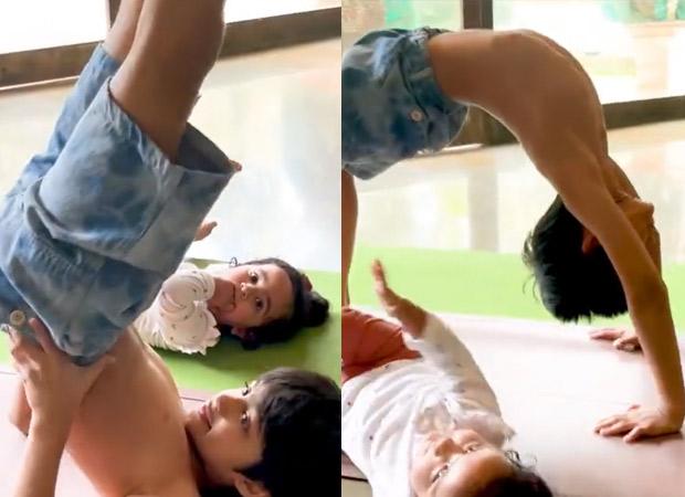 Shilpa Shetty's son Viaan Raj Kundra teaches yoga to his little sister Samisha, watch video