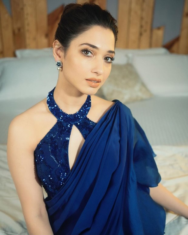Tamannaah Bhatia glows in radiant blue saree gown worth Rs. 45,000