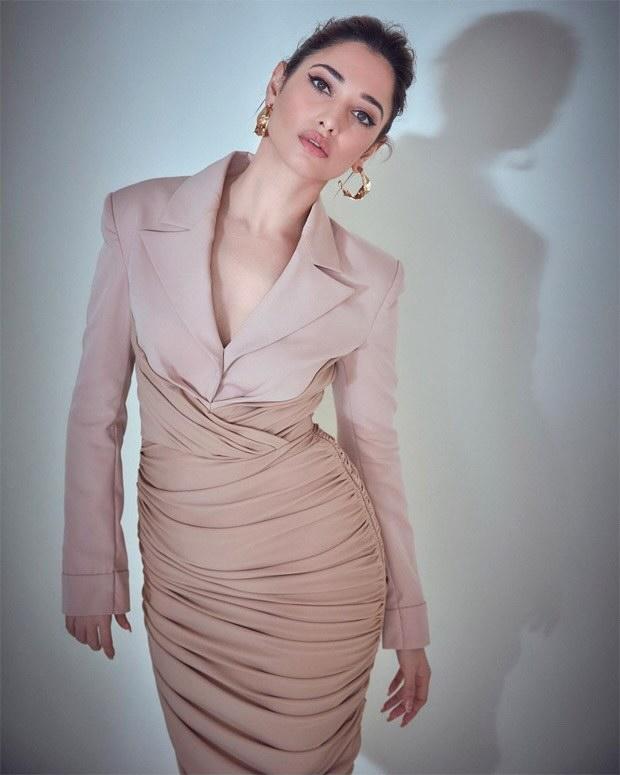 Tamannaah Bhatia is a stunner in nude bodycon jacket dress worth Rs. 94,000