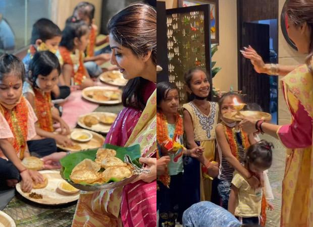 Shilpa Shetty organises ashtami puja at home; feeds kids halwa-poori