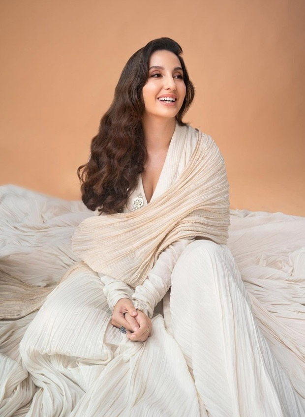 Nora Fatehi looks pristine in white anarkali with ivory dupatta